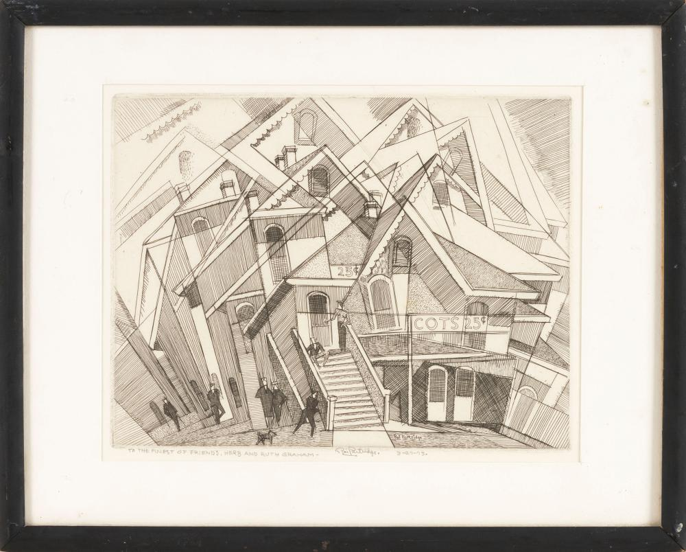 """ROI PARTRIDGE, California/Washington, 1888-1984, """"Flop House""""., Etching on paper, 7.25"""" x 9"""" sight. Framed 11"""" x 13.5""""."""
