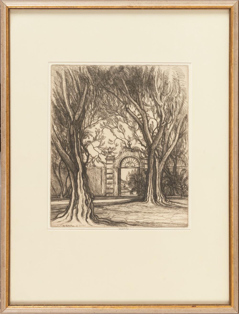 "ROI PARTRIDGE, California/Washington, 1888-1984, ""Gateway at Scripps""., Etching on paper, 11.25"" x 9.25"" sight. Framed 21"" x 16""."