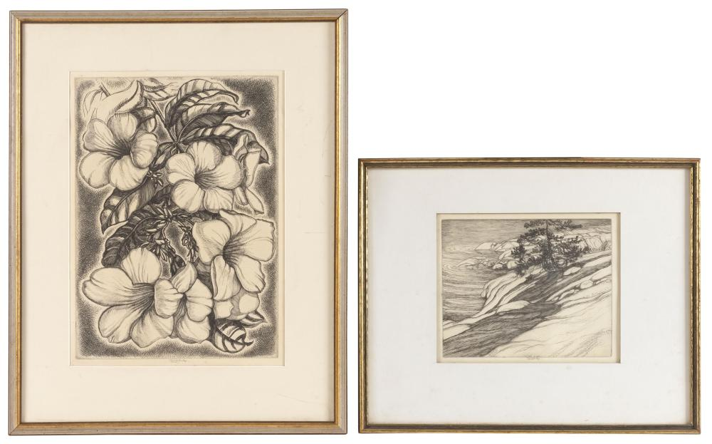 """ROI PARTRIDGE, California/Washington, 1888-1984, Two etchings: A floral arrangement and a seascape., 14.5"""" x 10.25"""" sight and 7.5"""" x..."""