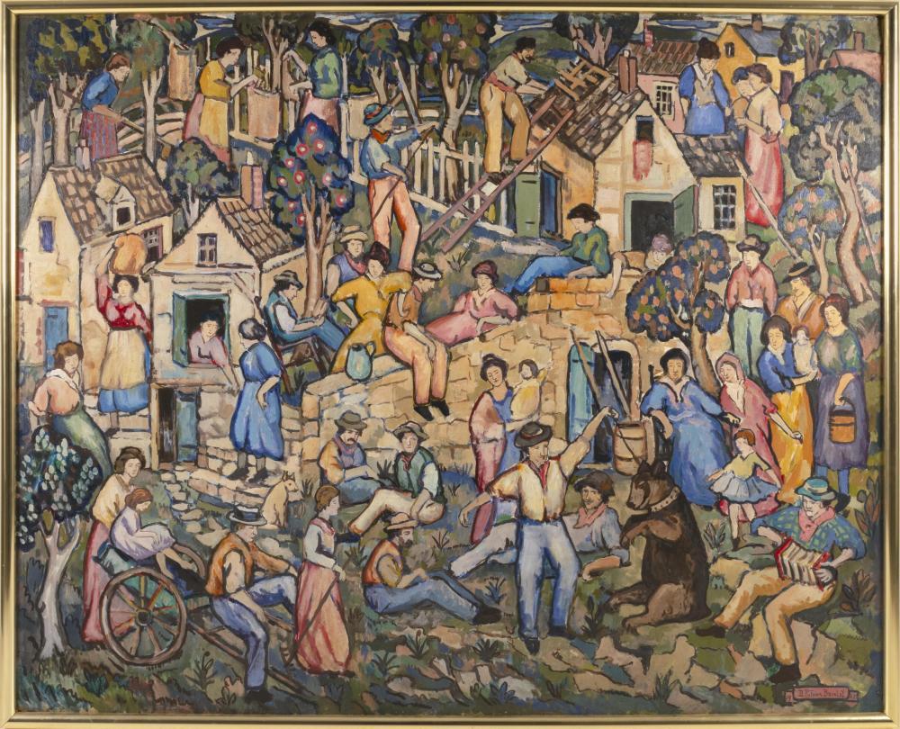 "DANIEL PUTNAM BRINLEY, United States, 1879-1963, ""The Italian Quarter""., Oil on masonite, 47.5"" x 59.5"". Framed 49.5"" x 61.75""."