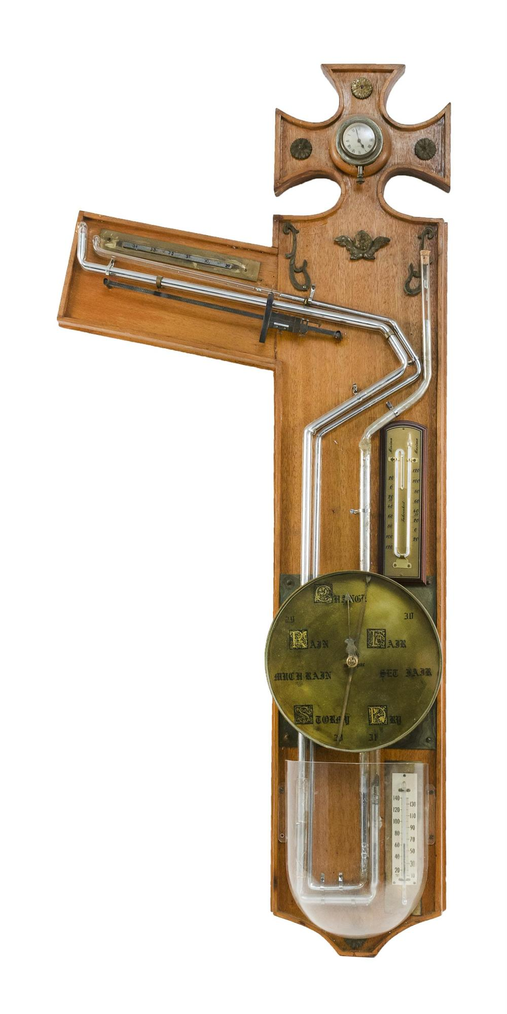 """UNUSUAL CONTINENTAL MERCURY BAROMETER Oak case with brass face and ormolu mounts. Height approx. 50""""."""