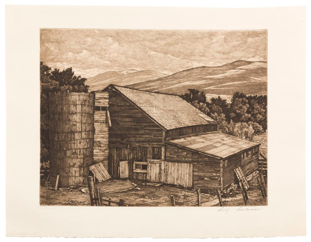 """LUIGI LUCIONI, Italy/United States, 1900-1988, """"Vermont Survival""""., Etching on wove paper with deckled bottom edge, sheet size 13"""" x..."""