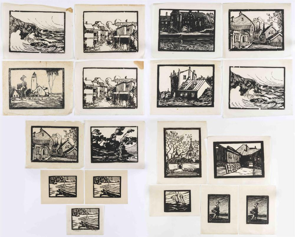 """TWENTY BLACK AND WHITE WOODCUTS/LINOCUTS Mostly European landscapes, all by the same hand. Some inscribed """"Orig. wood cut"""" or """"hand..."""