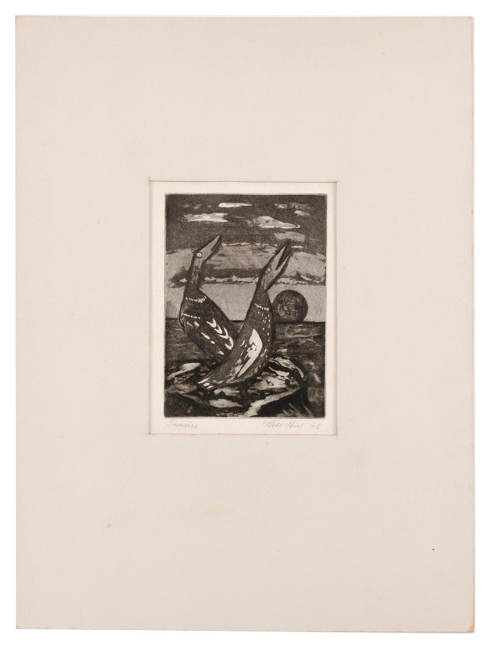 """THEO HIOS, New York/Greece, 1910-1998, """"Sunrise""""., Aquatint on paper, plate size 7"""" x 5"""". Sheet size 8"""" x 6"""". Matted."""