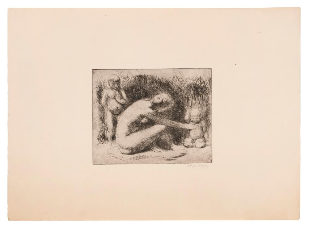 """KENNETH HAYES MILLER, New York/California, 1876-1952, """"Play"""". Circa 1921., Etching and drypoint on paper, 4.75"""" x 5.75"""". Sheet size..."""