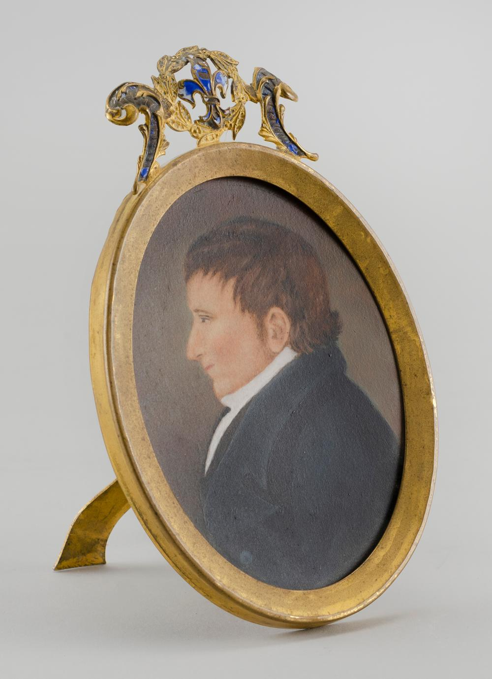 MINIATURE BUST PORTRAIT OF A MAN Housed in an Early 19th Century frame that includes a carte de visite. Information about the sitter...