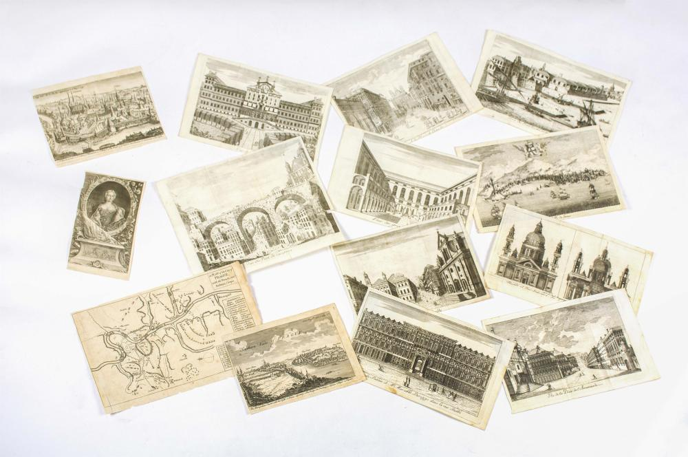 """FOURTEEN ARCHITECTURAL ETCHINGS All approx. 6"""" x 9.75"""". All unframed."""
