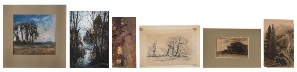 """SIX WORKS RELATING TO TREESCAPES All unframed. 1) Watercolor on board signed lower left """"HM"""". 7"""" x 14"""". 2) Pastel """"Scene in White Mo..."""