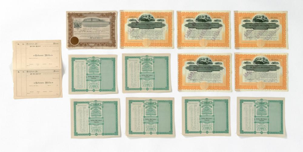 FOURTEEN STOCK CERTIFICATES 1-6) Six for Fall River Milk Producers Corporation. Not issued. 7-11) Five for De Mattia Brothers, Inc....