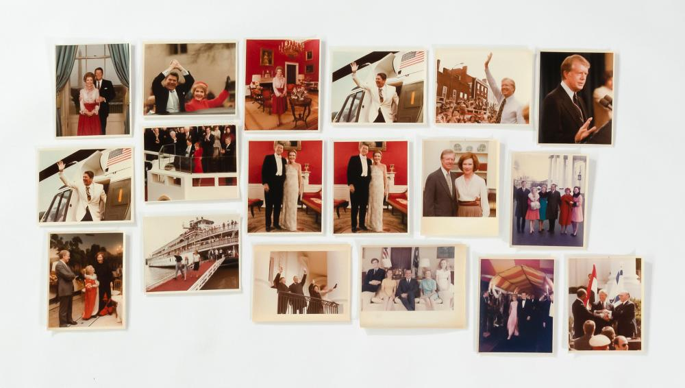 SEVENTEEN WHITE HOUSE PRESS PHOTOGRAPHS DEPICTING PRESIDENTS NIXON, CARTER AND REAGAN Many with stamp on the reverse. 1-3) Three ima...