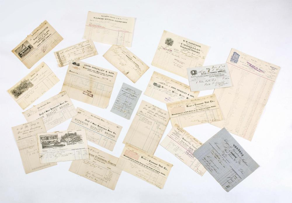 TWENTY-ONE ANTIQUE RECEIPTS, MOSTLY FROM MASSACHUSETTS BUSINESSES Includes Tiffany & Wales of Boston, J.K. & B. Sears & Co. of Hyann...