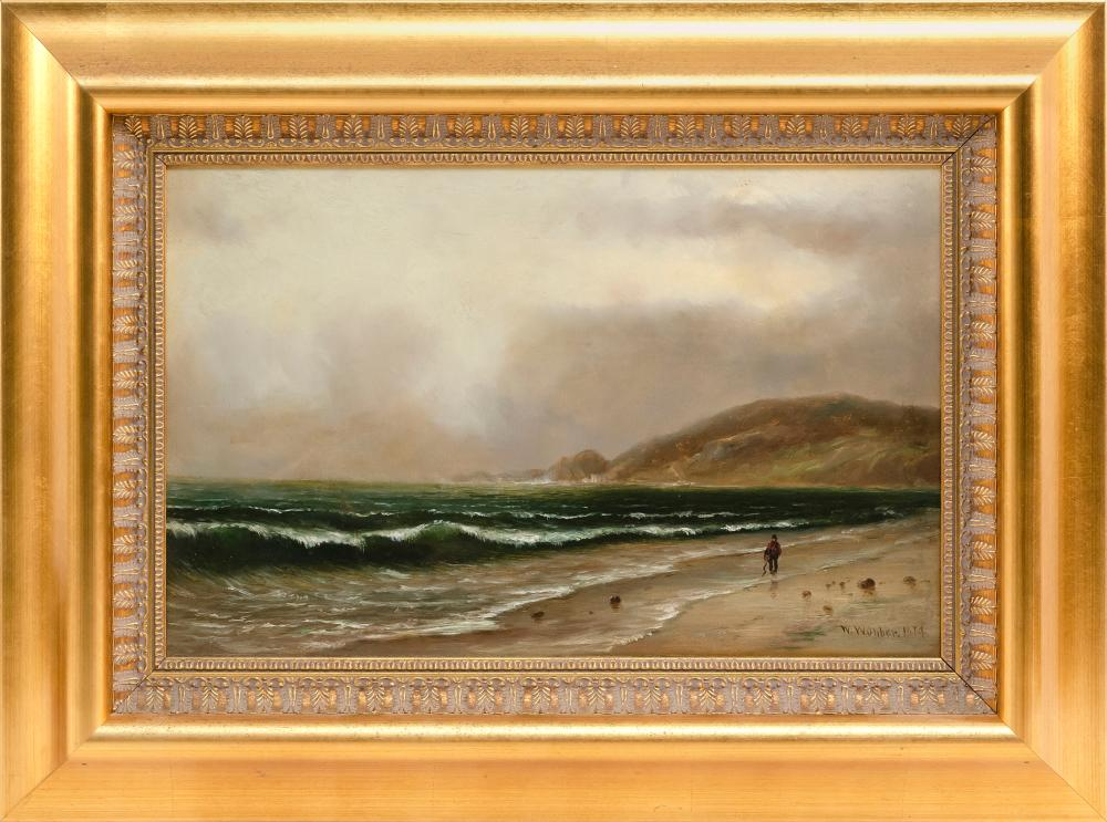 "WESLEY WEBBER, Massachusetts/California/Maine, 1841-1886, A figure walking along a rocky shore., Oil on canvas, 12"" x 18"". Framed 19..."
