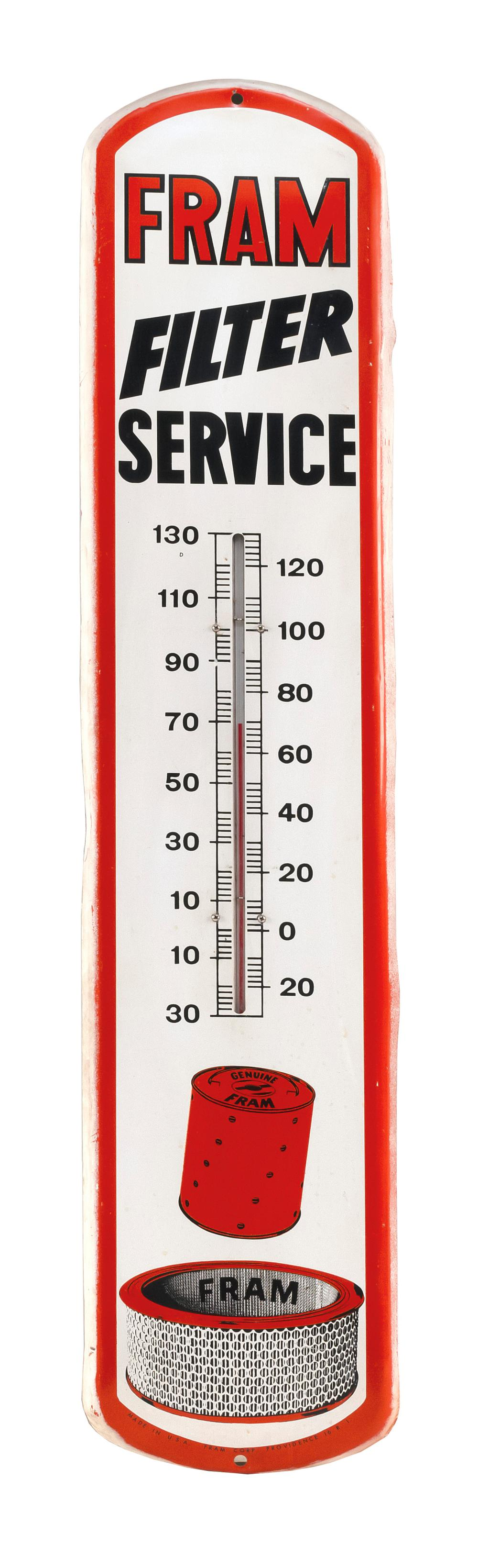 """VINTAGE OIL FILTER SERVICE STATION THERMOMETER """"Fram Filter Service"""" in orange and black lettering on a cream-colored ground. Fitted..."""