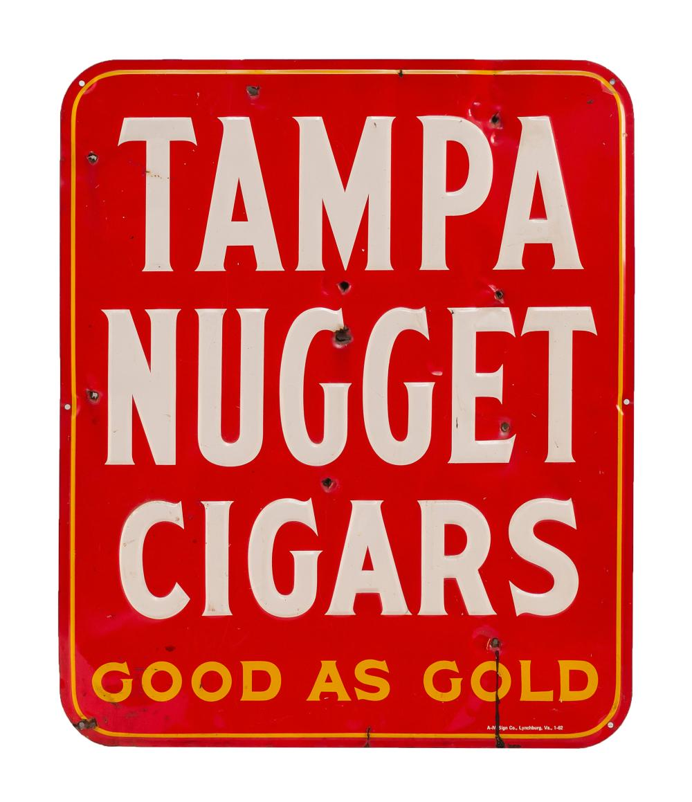 """RARE VINTAGE CIGAR ADVERTISING SIGN """"Tampa Nugget Cigars Good as Gold"""" in white and gold-colored lettering on a red ground. Made by..."""