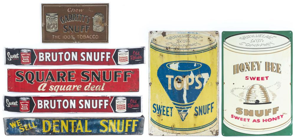 """SEVEN ADVERTISING SIGNS RELATED TO SNUFF Includes """"Honey Bee Sweet Snuff"""", """"Tops Sweet Snuff"""", """"Garrett's Snuff"""", """"Dental Snuff"""", """"S.."""