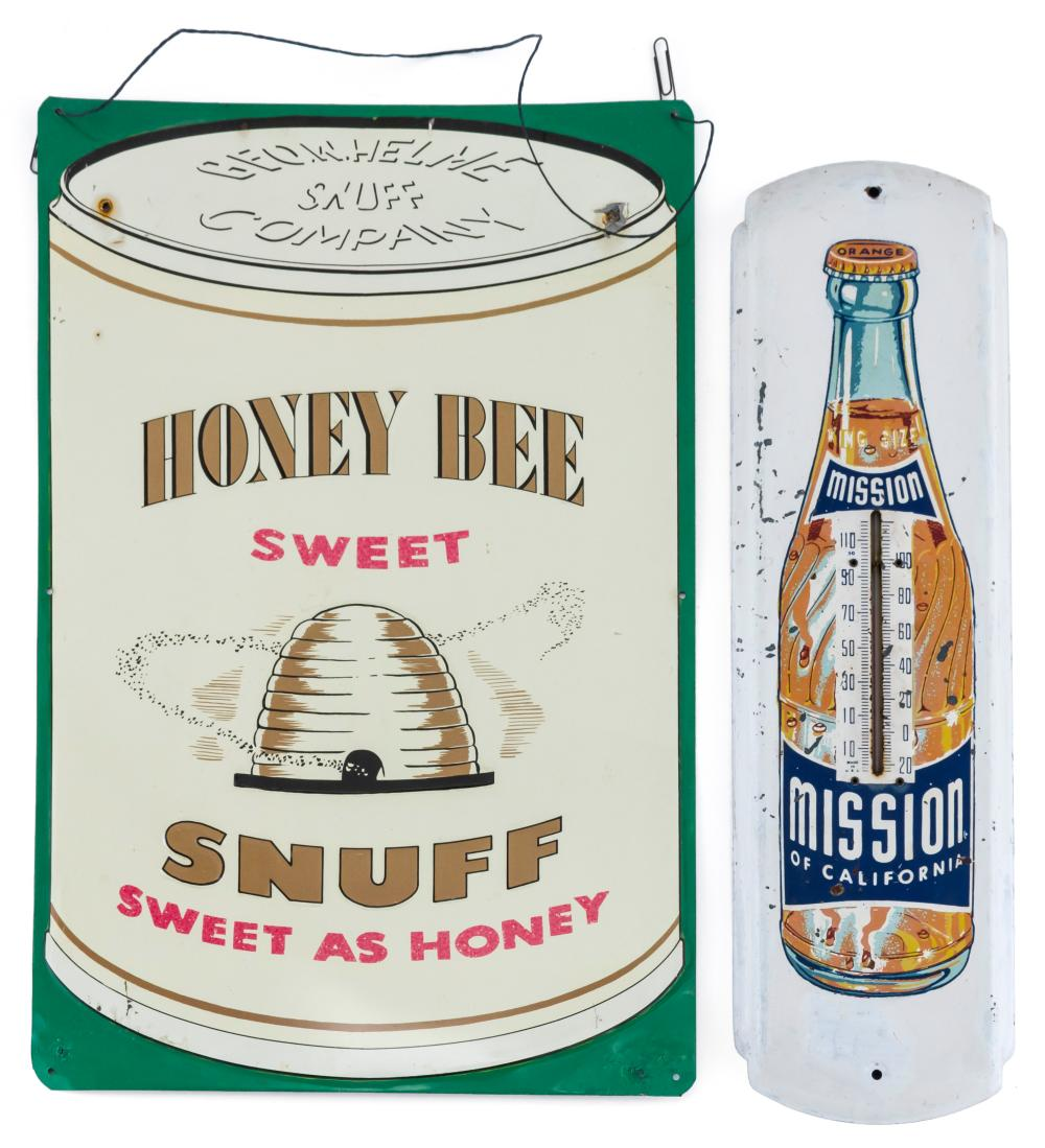 """TWO VINTAGE ADVERTISING PIECES A """"Mission of California"""" orange soda thermometer and a """"Geo. W. Helme Snuff Company Honey Bee Sweet..."""