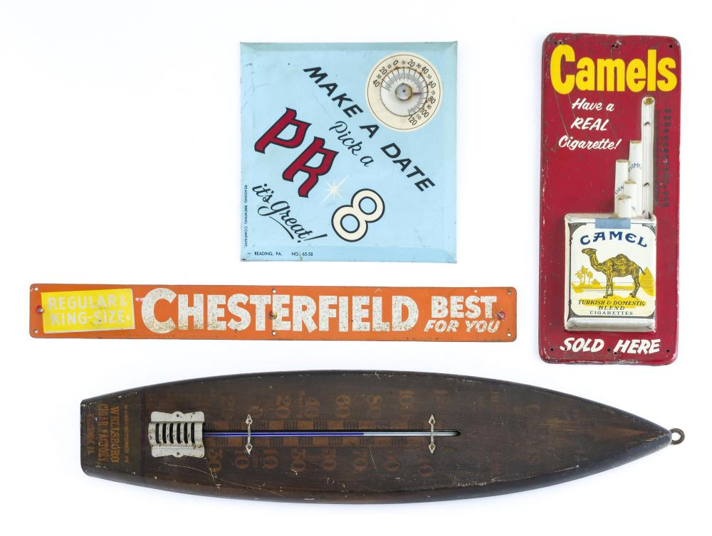 """FOUR VINTAGE ADVERTISING SIGNS """"Make A Date Pick PR 8 It's Great"""" thermometer advertising Reading Brewing Company, 8.75"""" x 8.75"""", a..."""