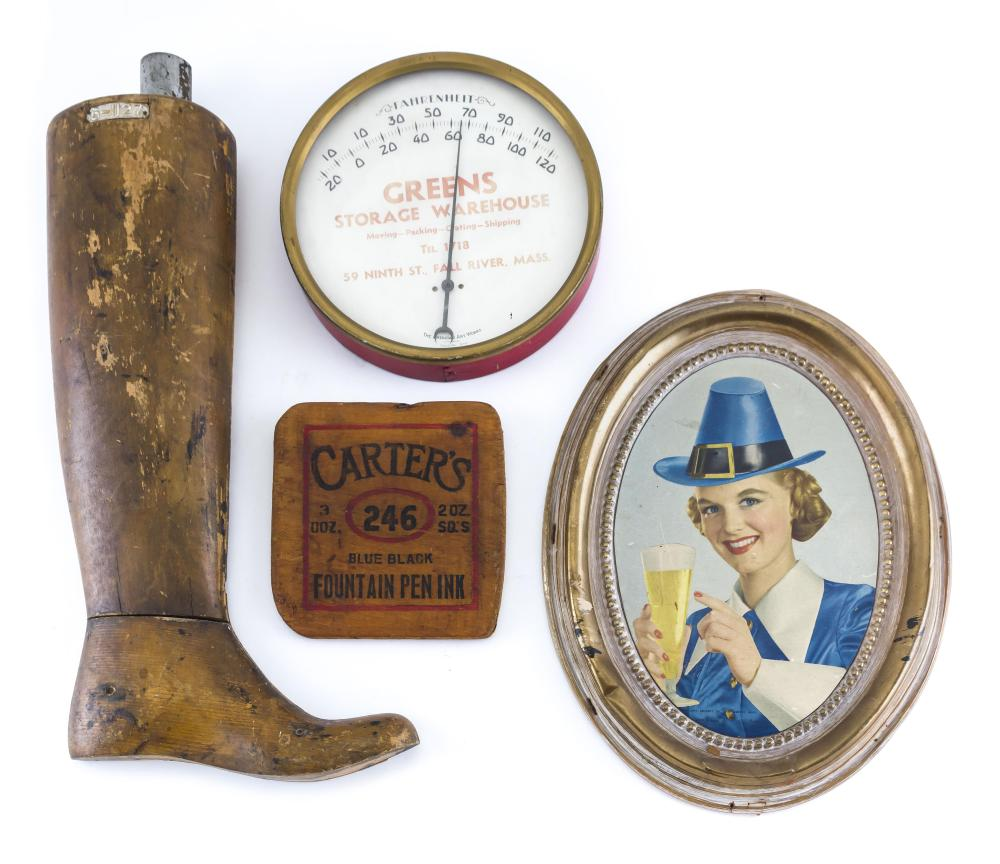 FOUR PIECES OF VINTAGE ADVERTISING A Dawson's of New Bedford lithographed sign depicting a woman holding a beer, a wooden boot-shape..