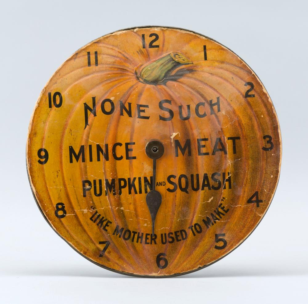 """""""NONE SUCH MINCE MEAT"""" ADVERTISING CLOCK Tin and lithographed paper clock in the form of a pumpkin. """"None Such Mince Meat Pumpkin an..."""
