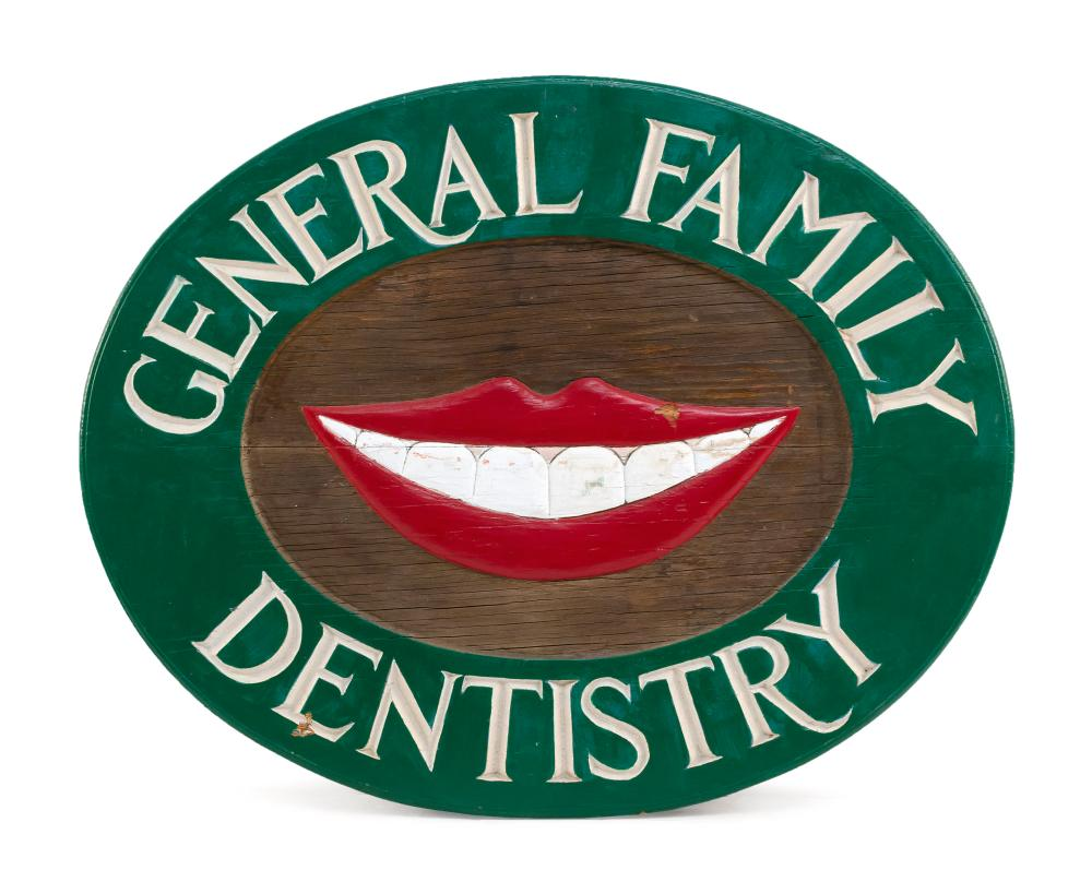 """DOUBLE-SIDED """"GENERAL FAMILY DENTISTRY"""" SIGN Mahogany sign with central carved and painted smile and white lettering around perimete..."""