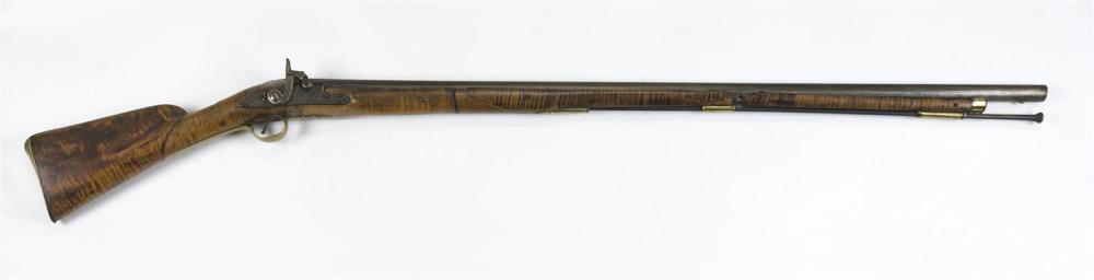 """19TH CENTURY MUSKET CONVERTED TO PERCUSSION Approx. .69 cal. Full tiger maple stock. Lock plate with scroll engraving. Barrel with """"..."""