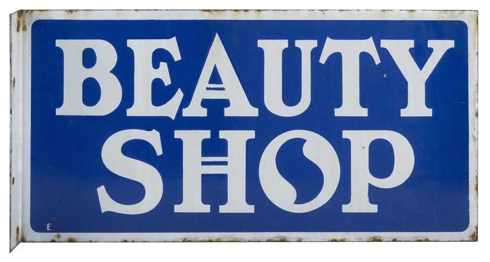 """DOUBLE-SIDED METAL ENAMEL """"BEAUTY SHOP"""" STORE SIGN White block lettering on a blue ground. 12"""" x 24.5""""."""