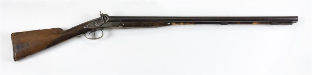 """ENGLISH PERCUSSION SIDE-BY-SIDE SHOTGUN 10-ga. Lock plates stamped """"Mortimer"""" and etched with peafowl design. Overall brown patina...."""