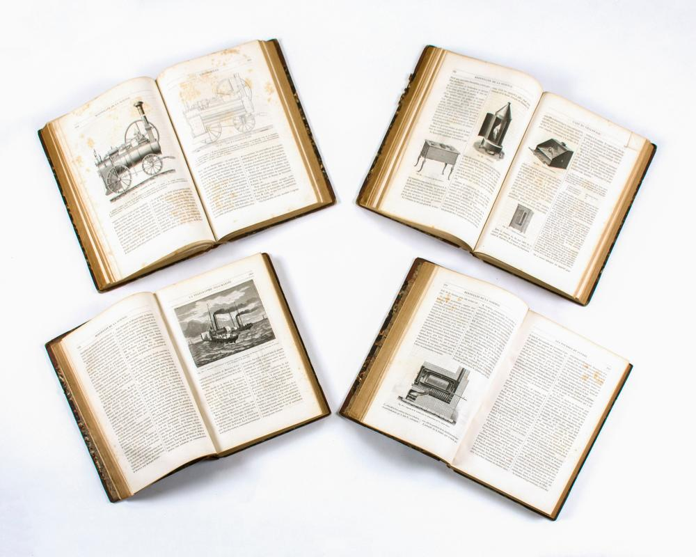 FOUR-VOLUME LEATHER-BOUND SET OF BOOKS RELATED TO SCIENCE 19th Century Les Merveilles De La Science par Louis Figuier (Paris: 1869).