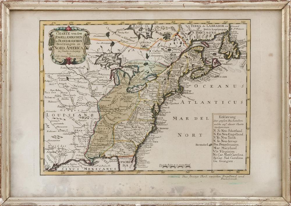 """18TH CENTURY HAND-COLORED ENGRAVED MAP OF NORTH AMERICA """"Charte von dem Engellaendischen u. Franzoesischen Besitzungen in Nord Ameri..."""