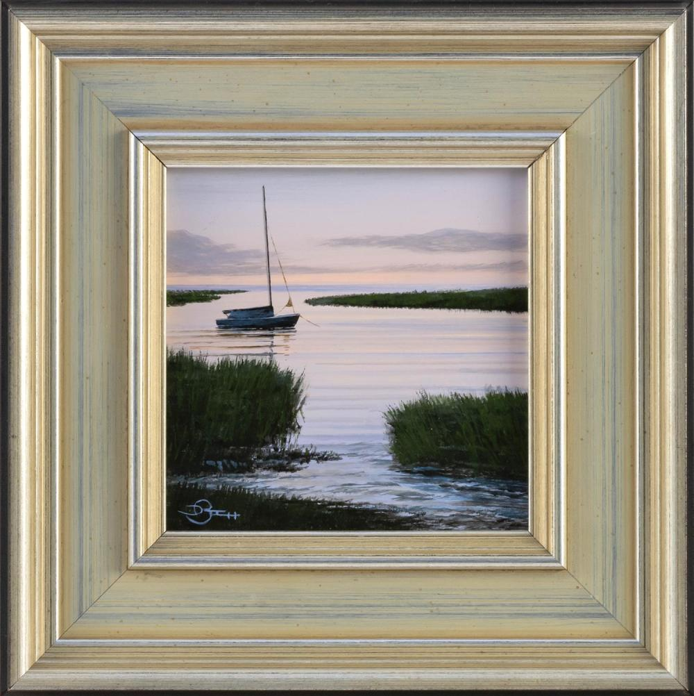 """DEL-BOURREE BACH, Connecticut/New York, b. 1953, """"Tidal Inlet"""", 2007., Oil on panel, 5"""" x 5"""". Framed 8.75"""" x 8.75""""."""