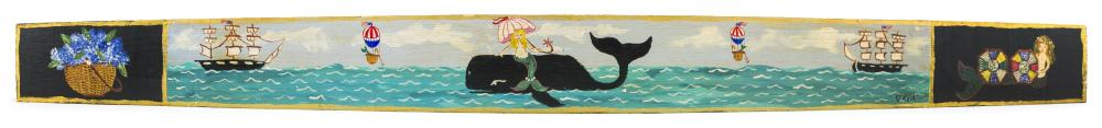 """KATHY O'NEIL, Cape Cod, Contemporary, Hand-painted barrel stave, Length 37""""."""