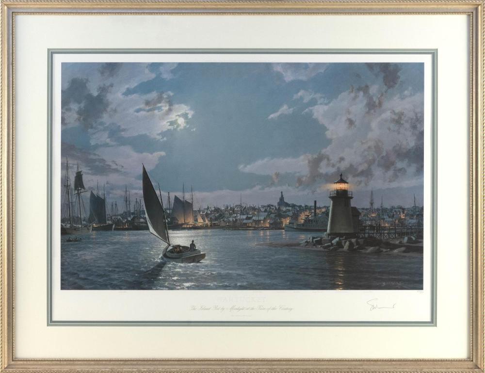 "JOHN STOBART, Massachusetts/Florida, b. 1929, ""Nantucket, the Island Port by Moonlight at the Turn of the Century""., Chromolithograp..."