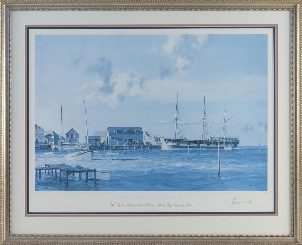 "JOHN STOBART, Massachusetts/Florida, b. 1929, ""Martha's Vineyard, the Bark Mattapoisett at Osborn's Wharf, Edgartown, in 1886""., Chr."