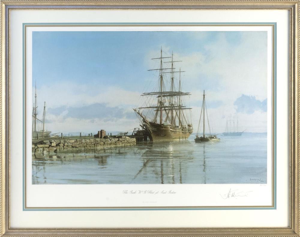 "JOHN STOBART, Massachusetts/Florida, b. 1929, ""The Bark W. B. Flint at East Boston""., Chromolithograph, 22"" x 30.5"" sight. Framed 29..."