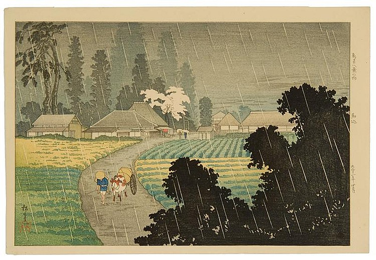 SHOTEI A rural farm scene in rain. Dated 1915.