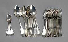THIRTY-ONE PIECES OF AMERICAN SILVER FLATWARE Twelve large tablespoons, sixteen large forks and three teaspoons, all by various make...