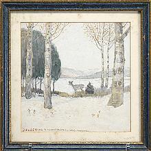 EDWIN WILLARD DEMING, American, 1860-1942, A deer in a winter landscape., Watercolor on paper, 8
