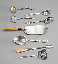 SIX AMERICAN SILVER SERVING PIECES Together with two ivory-handled silver plated serving pieces. American silver includes a berry sp...