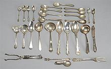 THIRTY PIECES OF STERLING SILVER AND SILVER PLATED FLATWARE Twenty sterling silver pieces and ten silver plated pieces by various ma...