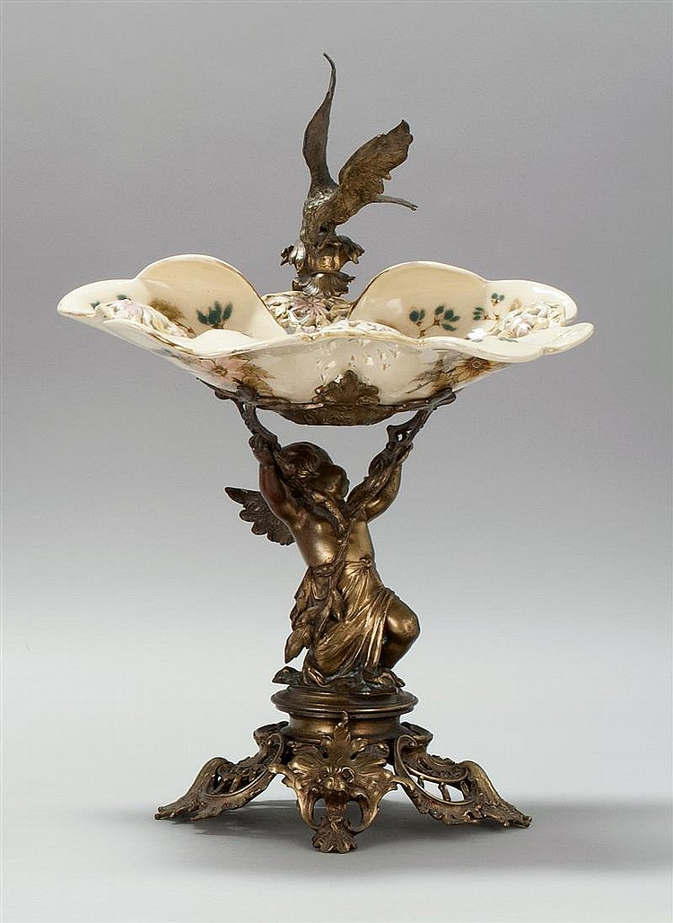 Gilt Bronze Mounted Porcelain Centerpiece Attributed To Zsol