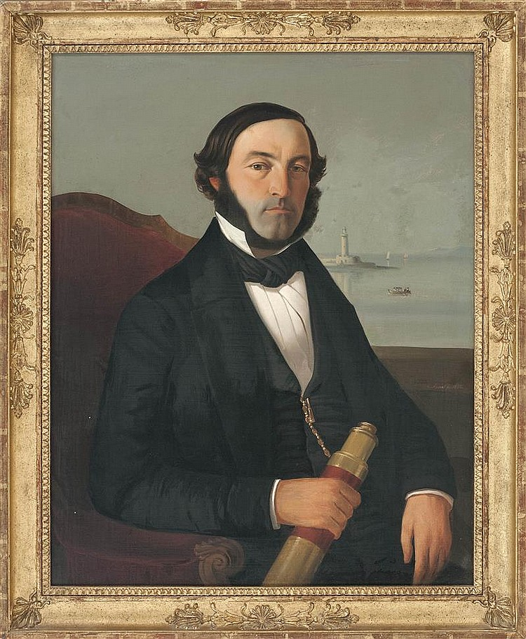 FRENCH SCHOOL, Mid-19th Century, Half-length portrait of a bearded sea captain holding a telescope., Oil on canvas, 30