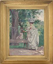 """LOUIS L. BETTS, American, 1873-1961, A finely dressed young woman stops to admire a dog., Oil on canvas, 16"""" x 12"""". Framed 21"""" x 17""""."""