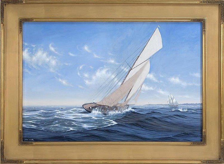 ALAN EDDY, Massachusetts, Contemporary, Yachting off the coast., Oil on canvas, 24