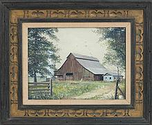 """MARION BRYANT COOK, Tennessee, b. 1930, Landscape with red barn., Oil on canvas, 12"""" x 16"""". Framed 16"""" x 20""""."""