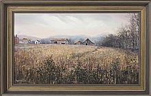 """MARION BRYANT COOK, Tennessee, b. 1933, """"Sagebrush""""., Oil on canvas, 14"""" x 24"""". Framed 18"""" x 28""""."""