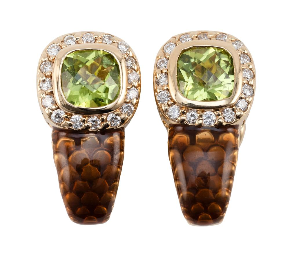 PAIR OF 14KT GOLD, PERIDOT, DIAMOND AND ENAMEL EARRINGS Approx. 5.30 total dwt.