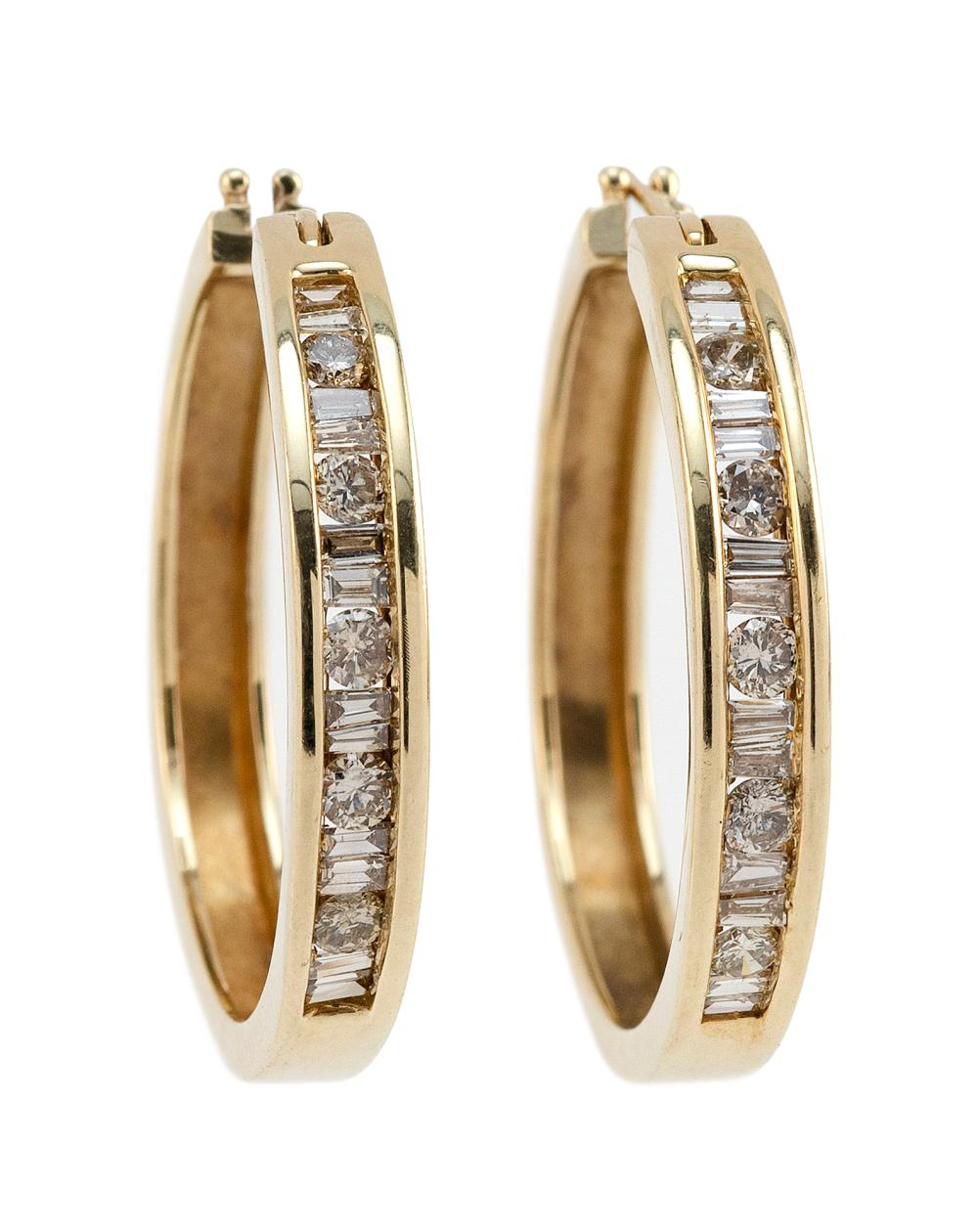 PAIR OF 10KT GOLD AND DIAMOND EARRINGS Approx. 5.39 total dwt.