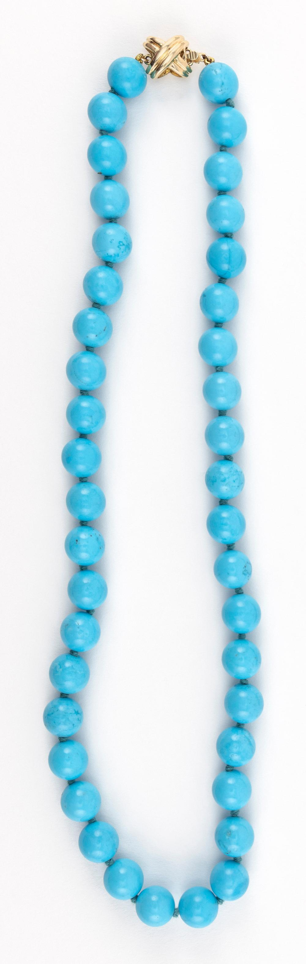 """TIFFANY & CO. """"SIGNATURE X"""" 18KT GOLD AND TURQUOISE BEAD NECKLACE"""