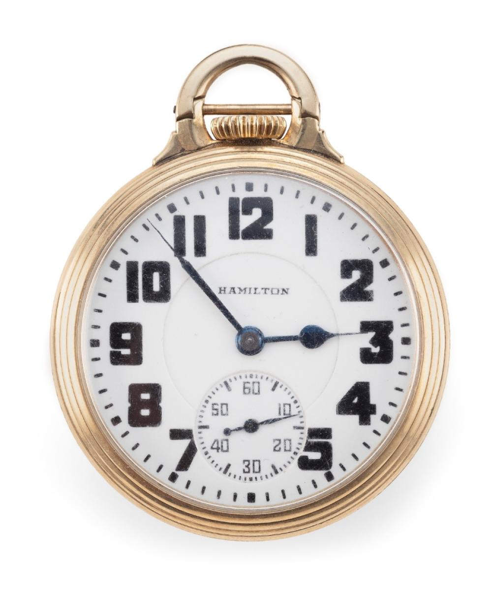 HAMILTON GOLD-FILLED OPEN FACE POCKET WATCH