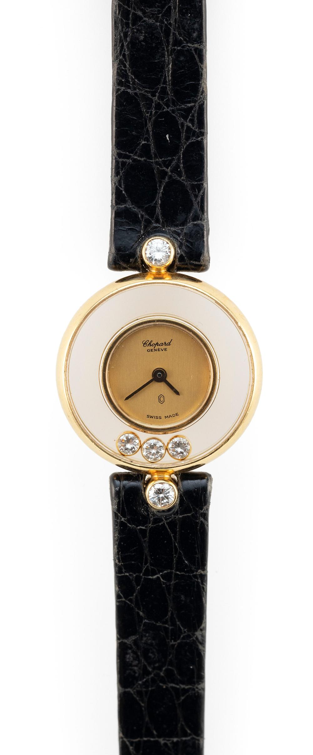 """CHOPARD """"HAPPY DIAMONDS"""" 18KT GOLD AND DIAMOND WATCH Approx. 8.62 total dwt."""